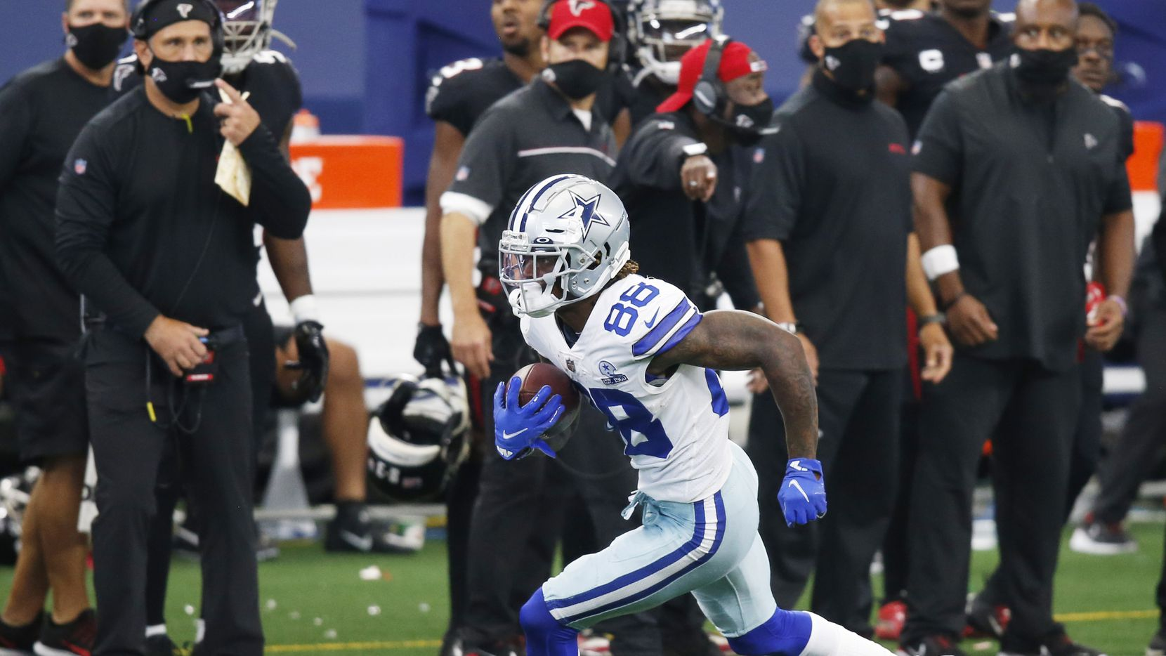 Dallas Cowboys wide receiver CeeDee Lamb (88) runs up the field after the catch on the final drive for the Cowboys in a game against the Atlanta Falcons during the fourth quarter of play at AT&T Stadium in Arlington, Texas on Sunday, September 20, 2020. Dallas Cowboys defeated the Atlanta Falcons 40-39.