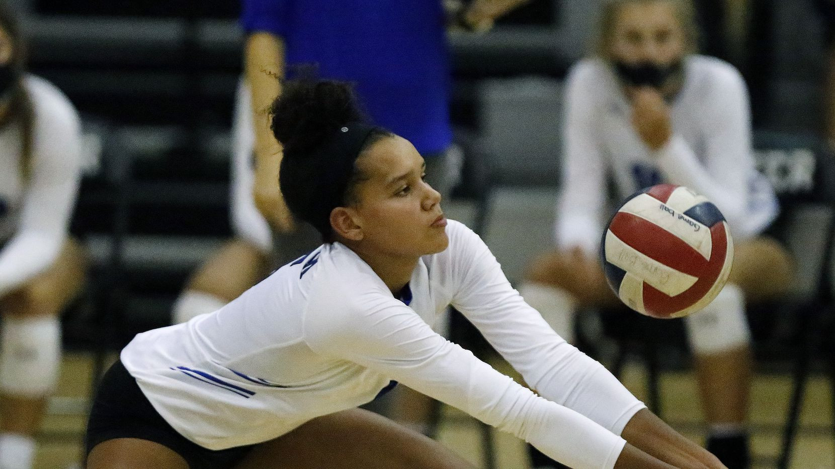 Denton Guyer High School outside hitter Kyndal Stowers (5) makes pass during game two as Denton Guyer High School hosted Flower Mound High School on Tuesday, September 22, 2020.