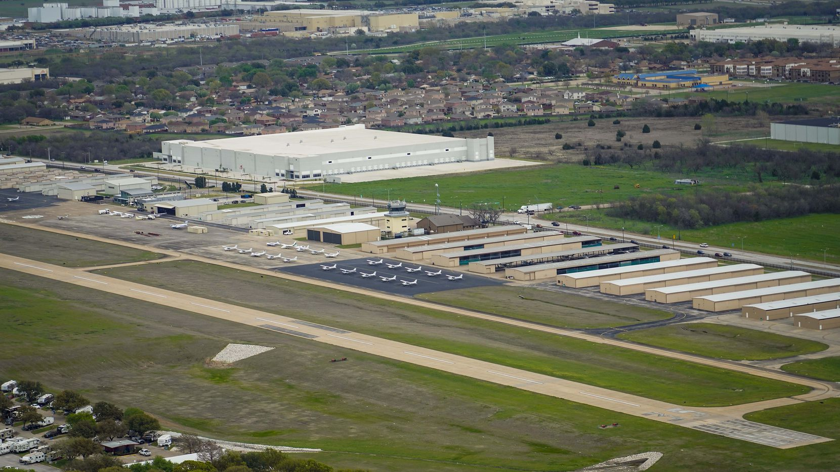 An aerial view of Grand Prairie Municipal Airport, which will host a vehicle show to raise money for charity this weekend.