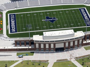 A 2018 file photo shows McKinney ISD stadium nearing completion. The venue, which seats 12,000, will host the NCAA Division II National Football Championship through 2025.