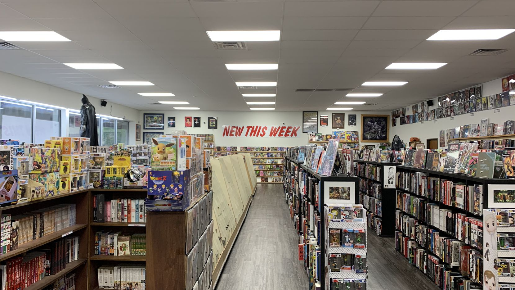 The shelves of Titan Comics at Forest Lane and Webb Chapel Road before it closed due to Dallas County's emergency coronavirus order.