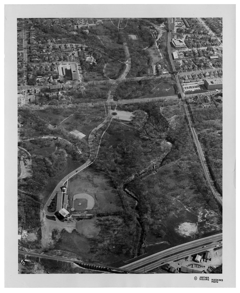 An aerial of the ball field, Reverchon Park and much of Oak Lawn taken in June 1956