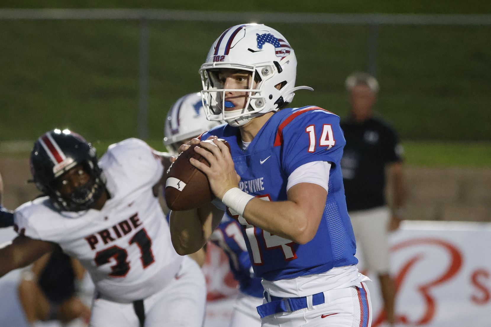 Grapevine quarterback Walker Berryman  prepares to throw against Colleyville Heritage during the first half of their high school football game in Grapevine, Texas on Aug. 27, 2021. (Michael Ainsworth/Special Contributor)