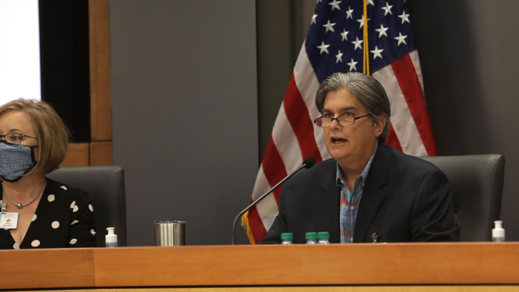 David Stolle speaks during a Plano ISD emergency meeting regarding mask mandates at the Plano District Administration Building Board Room in Plano on Aug. 23, 2021.