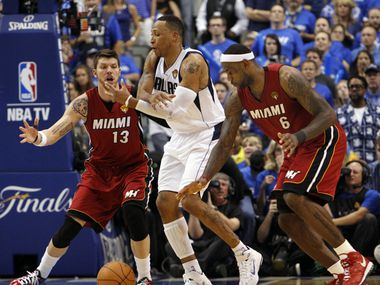 Miami Heat small forward LeBron James (6) steals the ball from Dallas Mavericks small forward Shawn Marion (0) in the fourth quarter during Game 3 of the NBA Finals at American Airlines Center Sunday, June 5, 2011 in Dallas. Miami won 88-86 to take a 2-1 lead in the series.