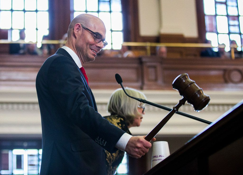 """Speaker Dennis Bonnen, shown as he took the reins of the House Tuesday, praised changes in sexual harassment policies that were adopted by the House on Wednesday. """"Great work,"""" said Bonnen, R-Angleton."""