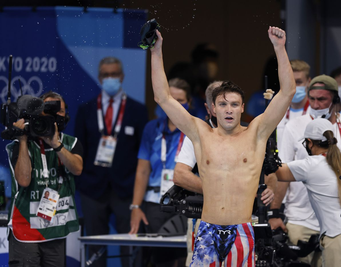USA's Robert Finke celebrates after winning the men's 1500 meter freestyle final during the postponed 2020 Tokyo Olympics at Tokyo Aquatics Centre, on Sunday, August 1, 2021, in Tokyo, Japan. Finke won with a time of 14:39.65 to earn a gold medal. (Vernon Bryant/The Dallas Morning News)