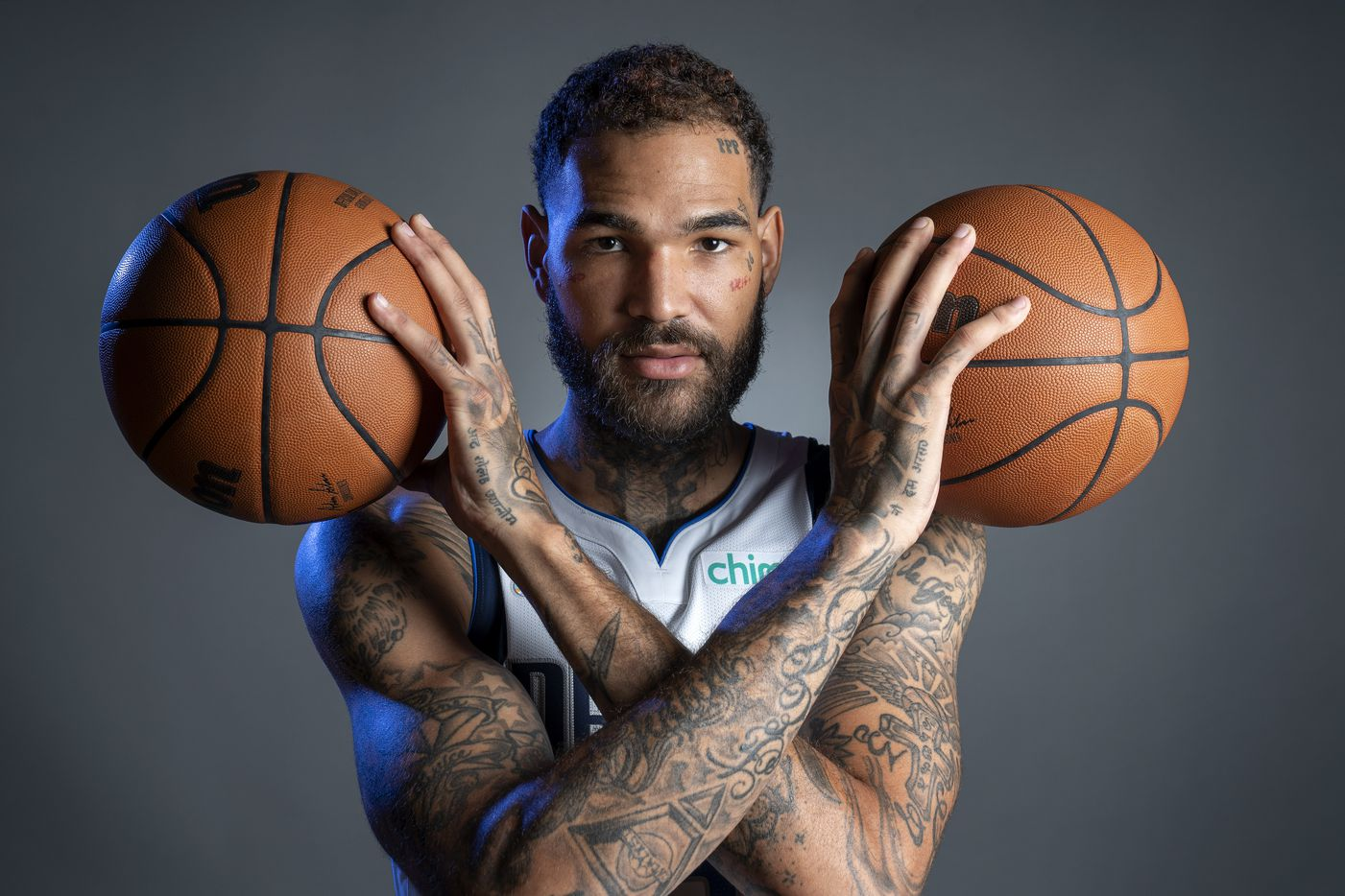 Dallas Mavericks forward Willie Cauley-Stein poses for a portrait during the Dallas Mavericks media day, Monday, September 27, 2021 at American Airlines Center in Dallas. (Jeffrey McWhorter/Special Contributor)