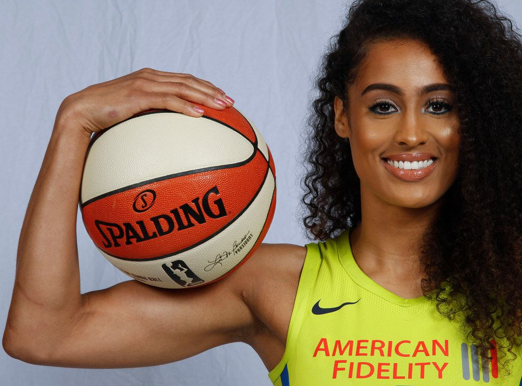 Dallas Wings guard Skylar Diggins-Smith (4) poses for a photo during the team's Media Day at the College Park Center on the UT Arlington campus Friday, May 4, 2018. The Dallas Wings are part of the Women's National Basketball Association (WNBA), a women's professional basketball league in the United States. (Ron Baselice/The Dallas Morning News)