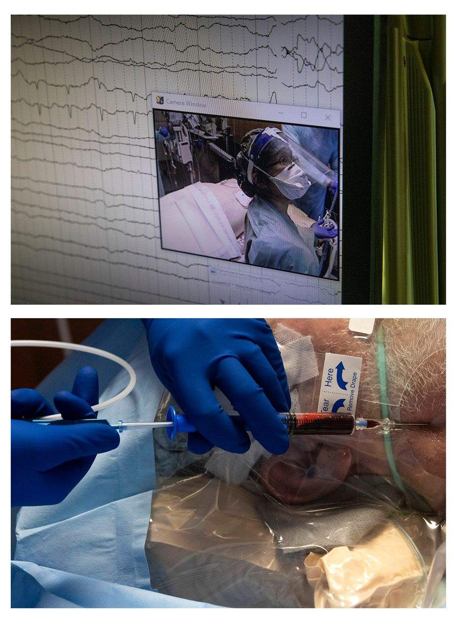 In these paired images, Dr. Catherine Chen appears on a camera monitor as she reads oxygen levels for an intubated COVID-19 patient before inserting a central venous catheter into him (bottom image) in the Tactical Care Unit at Parkland Memorial Hospital.