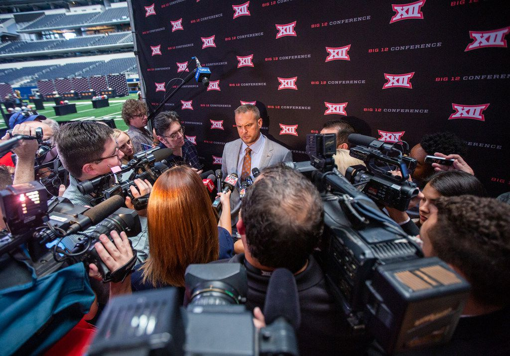 University of Texas head football coach Tom Herman speaks with reporters during the Big 12 Conference Media Days event at the AT&T Stadium in Arlington, Texas, Tuesday, July 16, 2019. (Lynda M. Gonzalez/The Dallas Morning News)