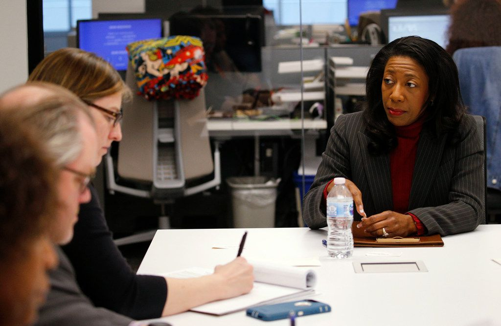District Attorney candidate Elizabeth Frizell answers questions at an editorial board meeting photographed at The Dallas Morning News.