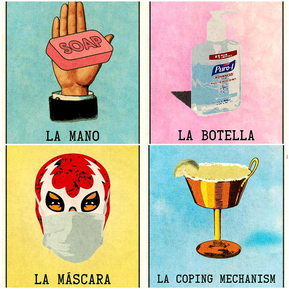 San Antonio artist Rafael Gonzales Jr. reflects life in the current pandemic with images patterned after loteria, the Mexican card game similar to bingo.