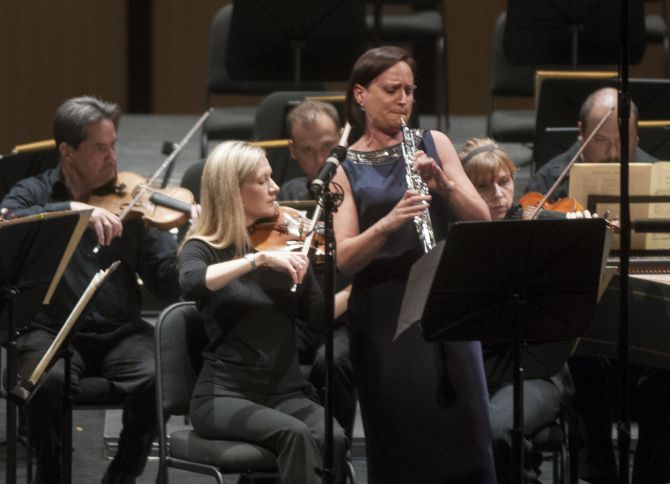 Erin Hannigan performed Bach's Concerto in A major for oboe d'amore and strings with the Dallas Symphony Orchestra during the DSO's first ReMix concert on Friday night at Dallas City Performance Hall.