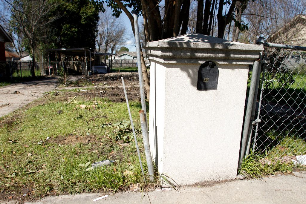 Only the mailbox and a carport remained March 13, 2019, at an empty lot where the Lemus family home used to stand at 3527 Durango Drive in Dallas.