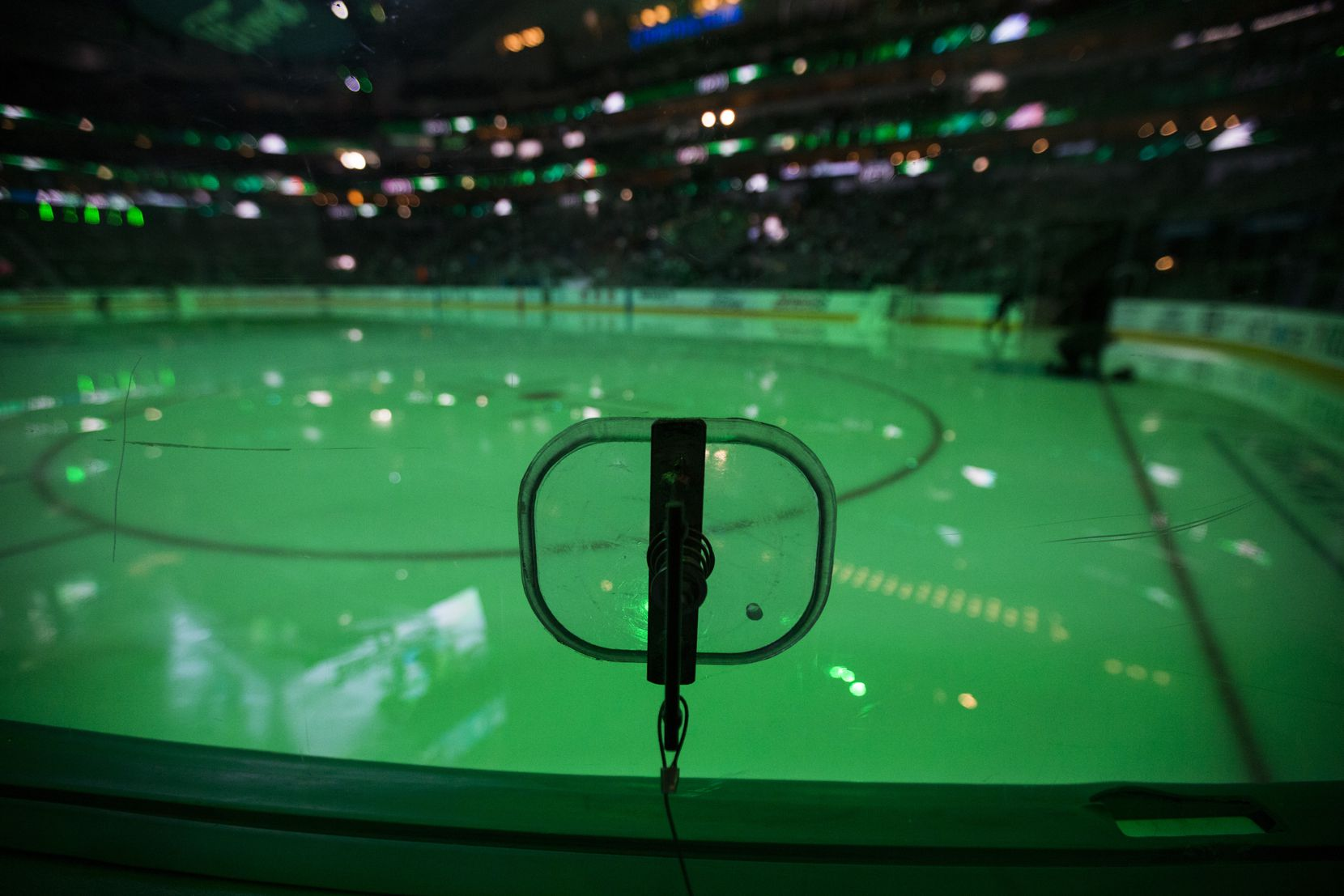 A view of a photo hole used by photographers to shoot images at American Airlines Center before the NHL game between the Dallas Stars and Buffalo Sabres on Jan. 16, 2020.