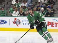 Dallas Stars right wing Denis Gurianov (34) during the first period of a Dallas Stars preseason game against St. Louis Blues on Tuesday, Oct. 5, 2021, at American Airlines Center in Dallas.
