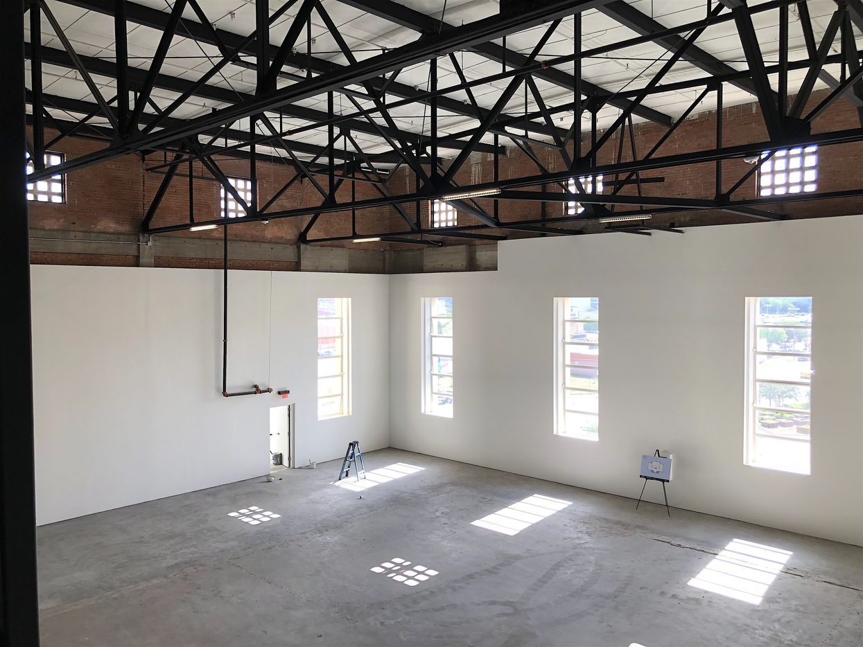 The third floor office space in the building has more than 30-foot ceilings.
