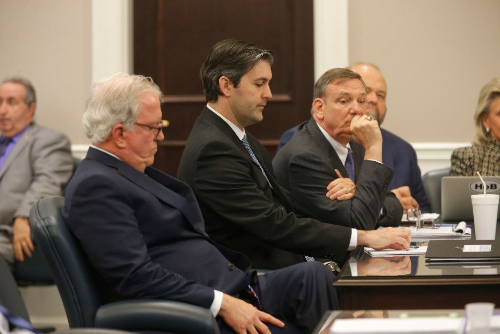 Defense attorneys Andy Savage, left, Don McCune, and Miller Shealy, right, sit around former North Charleston police officer Michael Slager at theCharleston County court in Charleston, S.C., Monday, Dec. 5, 2016. Judge Clifton Newman declared a mistrial after the jury was unable to reach a verdict. Slager was accused of shooting and killing Walter Scott, an unarmed black man during a traffic stop in April 2015. (Photo by Grace Beahm - Pool/Getty Images)