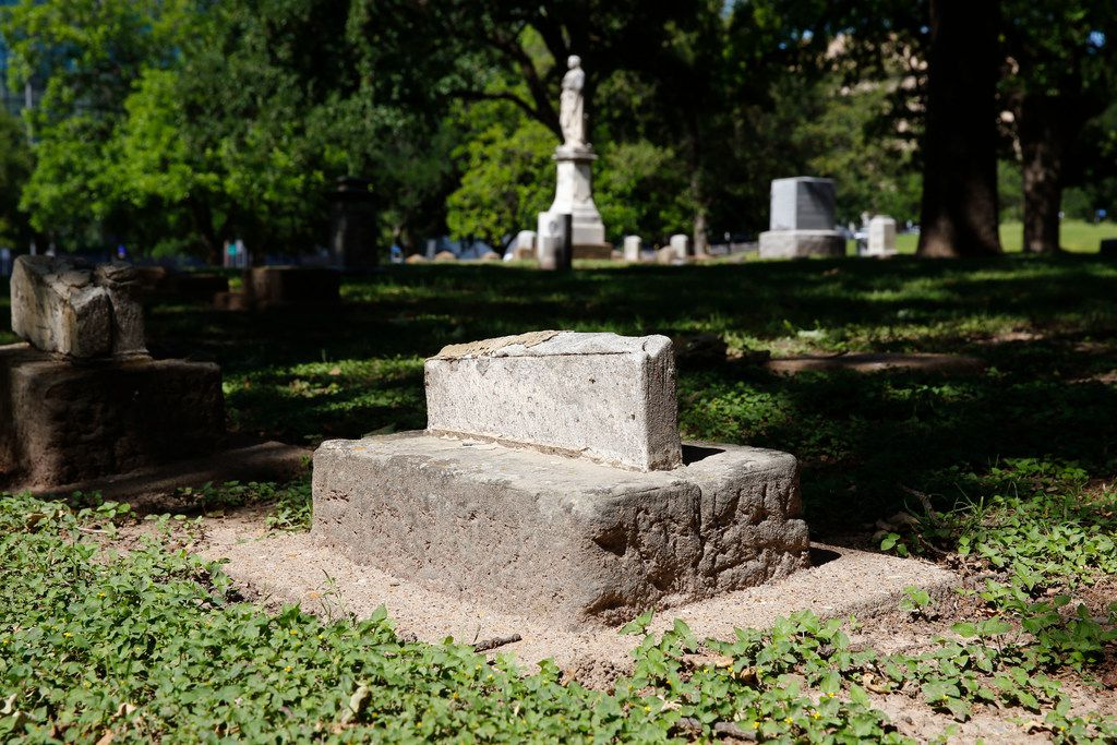Missing grave markers at Pioneer Cemetery in downtown Dallas