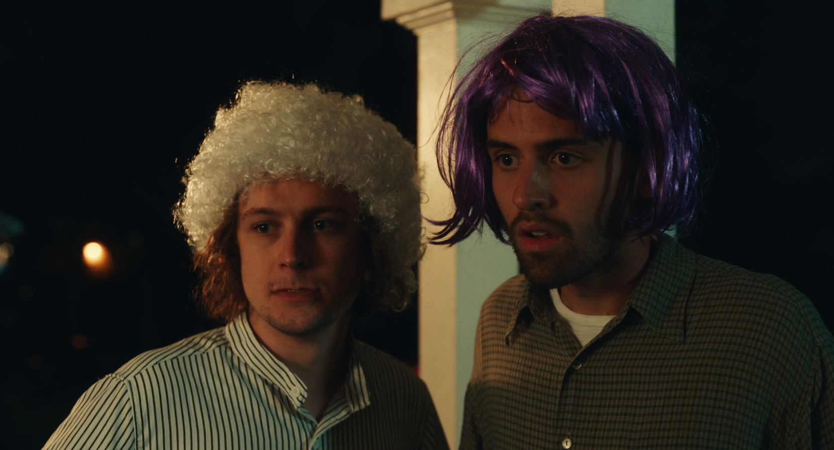 "Logan Miller (left) and Cooper Raiff star in ""S---house."" Raiff recruited Miller through direct messages on Instagram."