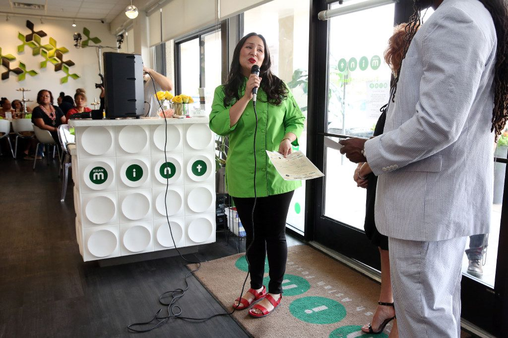 Asian Mint owner and chef Nikky Phinyawatana spoke at the fashion show event held June 4 at the restaurant and benefiting Genesis Women's Shelter.