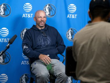 Dallas Mavericks head coach Jason Kidd speaks to the media during the first practice of training camp Tuesday, September 28, 2021 at the Dallas Mavericks Training Center in Dallas.