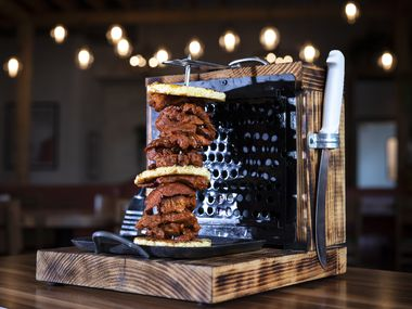 Trompo al Pastor is a mini rotisserie carved tableside at El Patio restaurant in The Realm at Castle Hills in Lewisville.