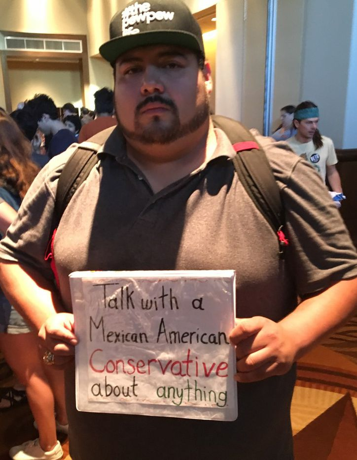 Jorge Machado, a recent Texas State University graduate who said he's looking for a job, said he wanted to talk to his peers about conservative ideas. He attended a rally for Democratic U.S. Senate hopeful Beto O'Rourke at the University of Texas at Austin in Austin, Texas, on Oct. 4, 2018.