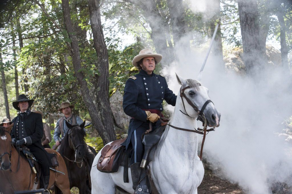 """This photo provided by History shows Jeff Fahey, left, as Thomas Rusk, and Bill Paxton as Sam Houston, in a scene from the television series, """"Texas Rising."""" The new show debuts on the History channel on Monday, May 25 at 8 p.m. Central."""
