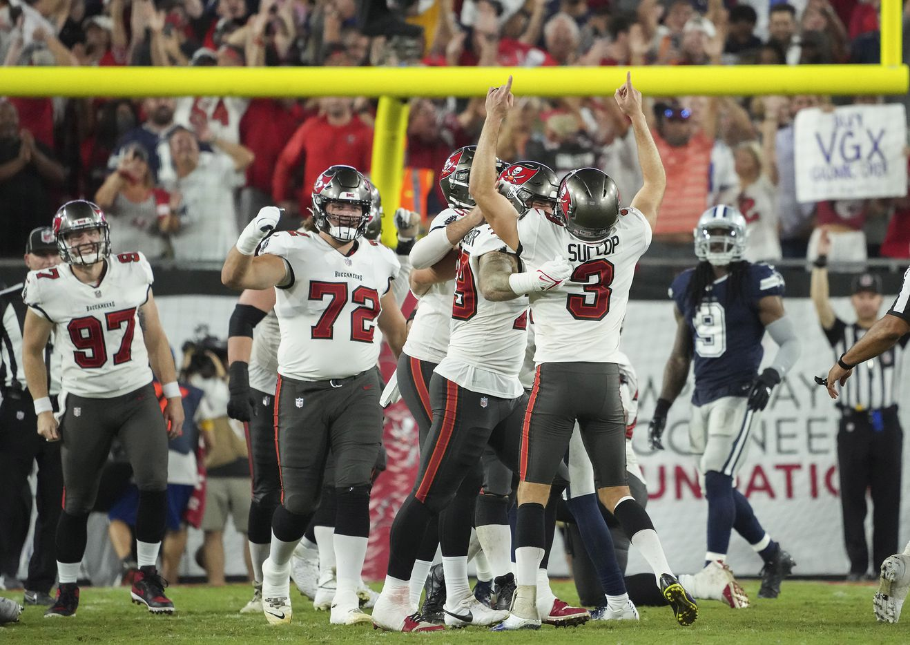 Tampa Bay Buccaneers place kicker Ryan Succop (3) celebrates after kicking a game-winning field goal in the final seconds of an NFL football game against the Dallas Cowboys at Raymond James Stadium on Thursday, Sept. 9, 2021, in Tampa, Fla. The  Buccaneers won the game 31-29. (Smiley N. Pool/The Dallas Morning News)