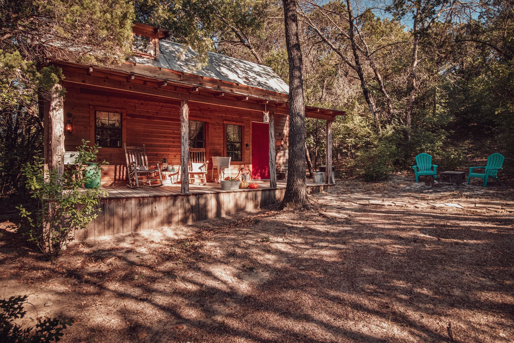 The Granbury Cabins at Windy Ridge are set in tree-covered, secluded sites on a 10-acre property with hiking trails and space to unwind.