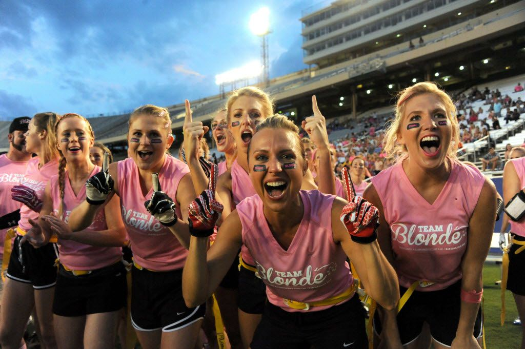 Blondes cheer at Blondes vs. Brunettes powder puff game at Cotton Bowl in Dallas, TX on August 13, 2016. (Alexandra Olivia/ Special Contributor)