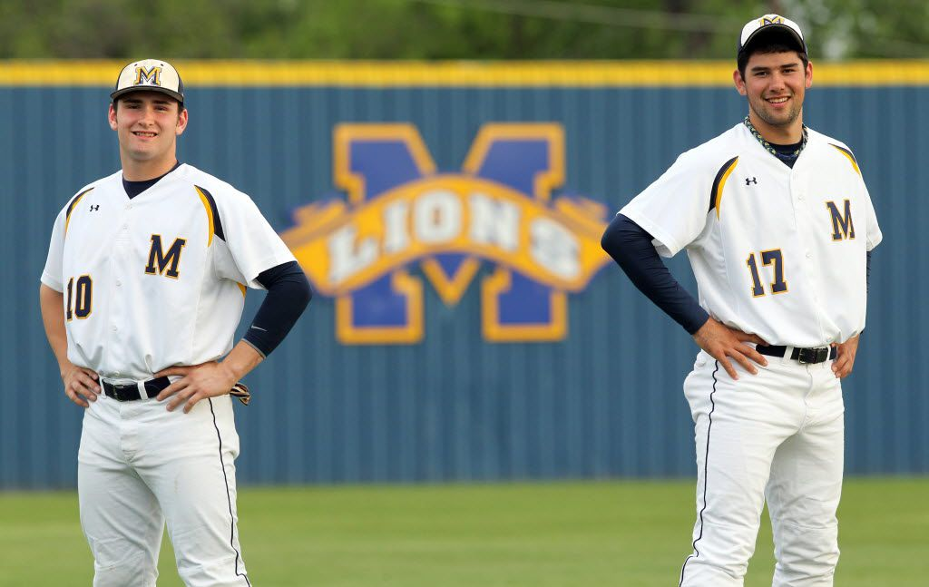 Mckinney High's Matt Lipka (10), left, and Zach Lee (17),right, pose together on the school's field before high school baseball action between McKinney North high and McKinney High At Alford Field in McKinney on April 16, 2010. They are two top area baseball prospects. (John F. Rhodes / The Dallas Morning News) 04222010xSPORTS