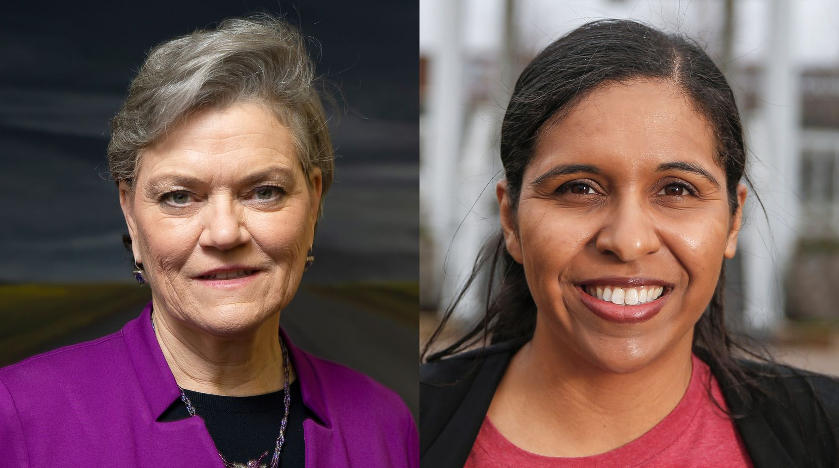 Kim Olson (left) and Candace Valenzuela are Democratic candidates for Texas' 24th Congressional District, facing each other in the 2020 primary runoff election.