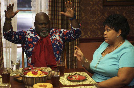"""Mr. Brown (David Mann) and Cora Brown (Tamela Mann) in """"Tyler Perry's Meet the Browns."""""""