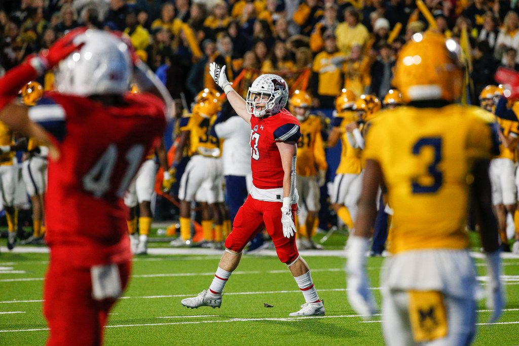McKinney Boyd's Jake Fex (13) celebrates an interception during the second half of a high school football matchup between McKinney and McKinney Boyd at McKinney ISD Stadium on Friday, Nov. 8, 2019 in McKinney, Texas. (Ryan Michalesko/The Dallas Morning News)