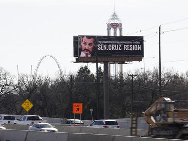 Ted Cruz billboard on highway 360, just north of Lamar St. in Grand Prairie, Texas on Monday February 1, 2021.