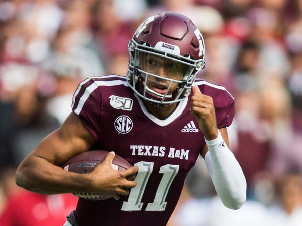 Texas A&M Aggies quarterback Kellen Mond (11) runs the ball during the second quarter of a college football game between Texas A&M and Alabama on Saturday, October 12, 2019 at Kyle Field in College Station, Texas. (Ashley Landis/The Dallas Morning News)
