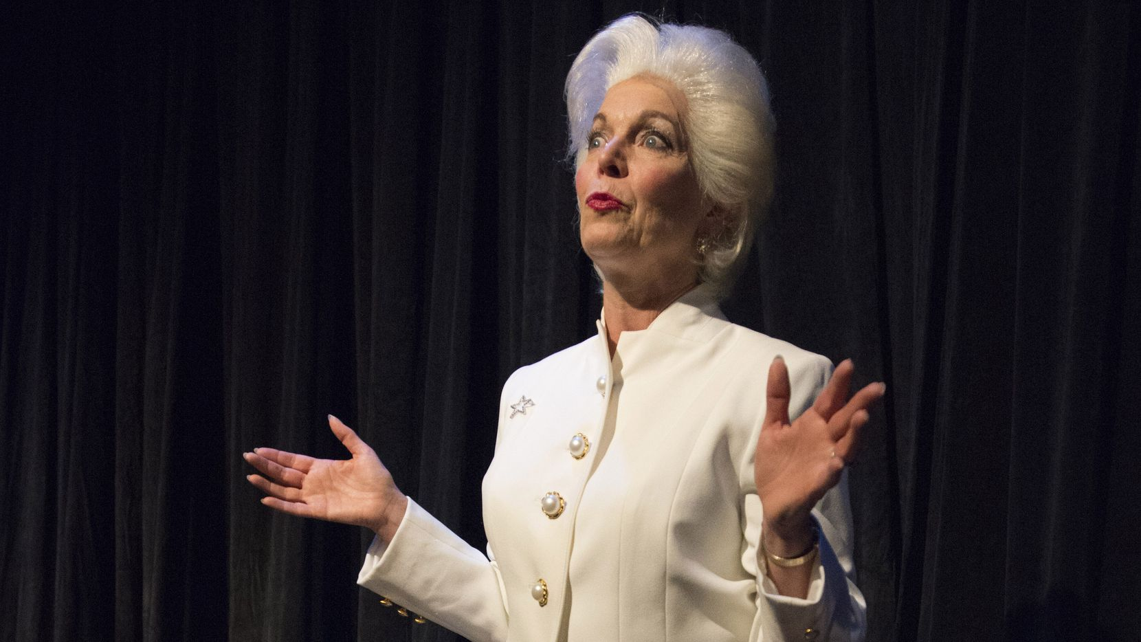 """Linda Kay Leonard in the role of Ann Richards in the Stage West production of Holland Taylor's one-woman show, """"Ann"""" at Stage West Theatre in Fort Worth."""