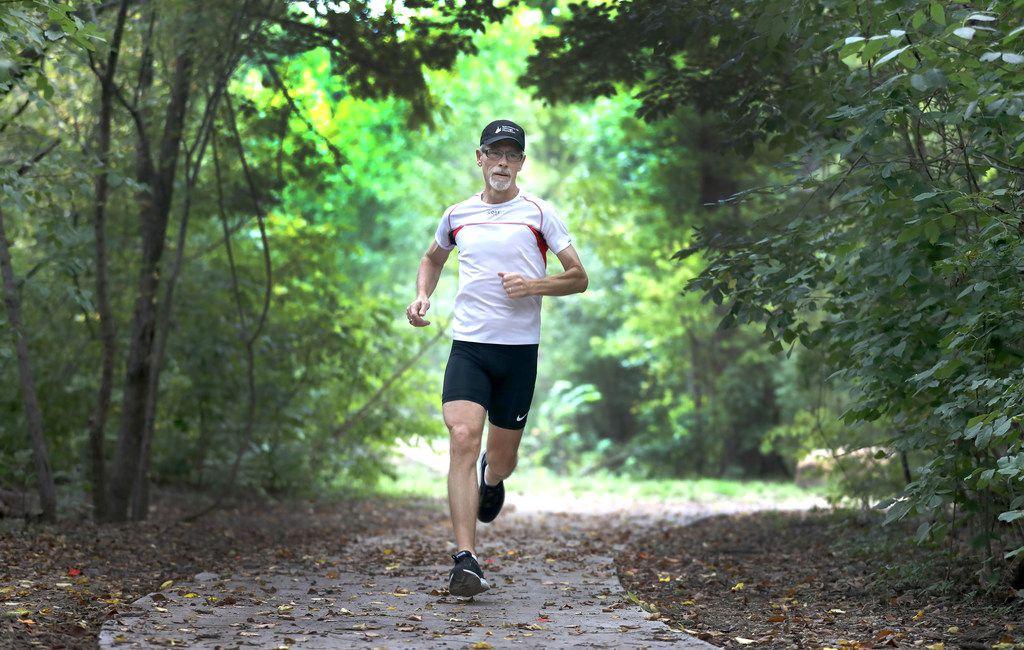 Kyle Heffner, the 1980 Olympic marathoner, at Arbor Hills Nature Preserve in Plano.