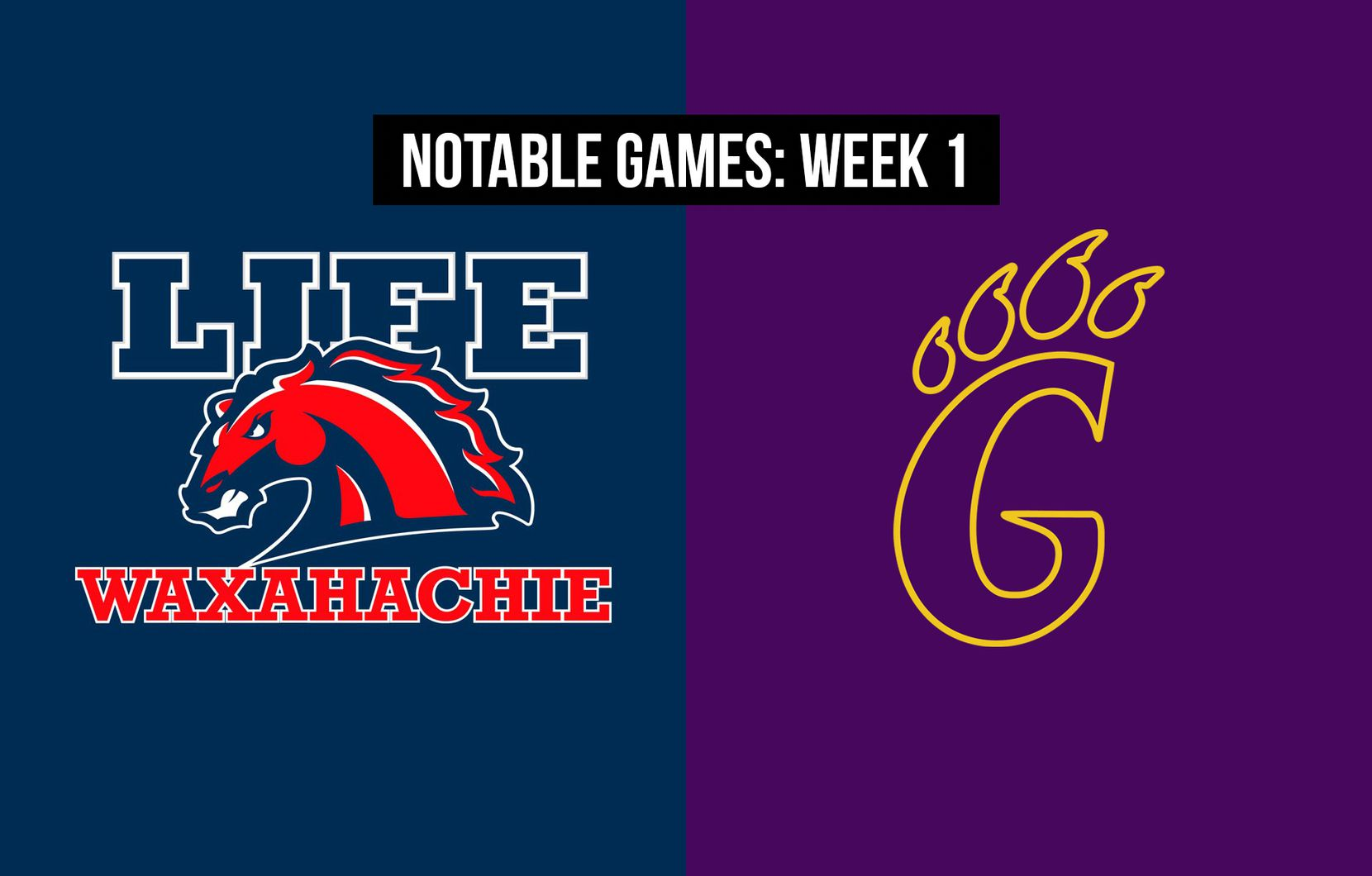 Notable games, Week 1 of the 2020 season: Life Waxahachie vs. Godley.