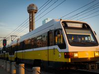 A DART rail Blue Line train heads away Union Station in front of Reunion Tower on Friday, July 31, 2020. (Smiley N. Pool/The Dallas Morning News)