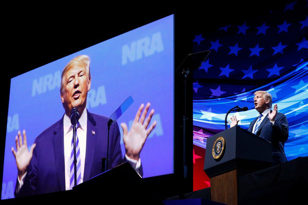 President Donald Trump speaks to the crowd assembled in the Kay Bailey Hutchison Convention Center for the NRA Annual Meeting in Dallas, Friday, May 4, 2018. . This is the second year as President that Trump has spoken to the gun rights group.