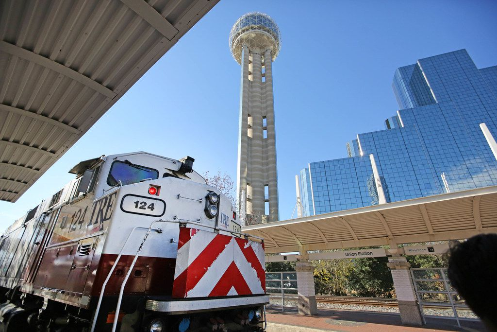 The Trinity Railway Express pulls in to Union Station in downtown Dallas.