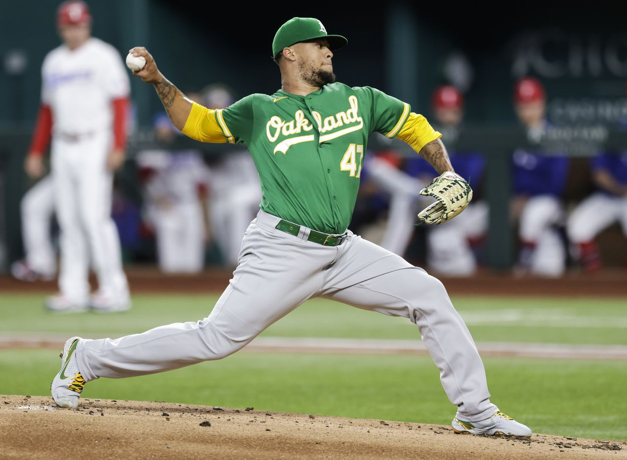 Oakland Athletics starting pitcher Frankie Montas (47) throws during the first inning of a baseball game against the Texas Rangers in Arlington, Monday, June 21, 2021. (Brandon Wade/Special Contributor)