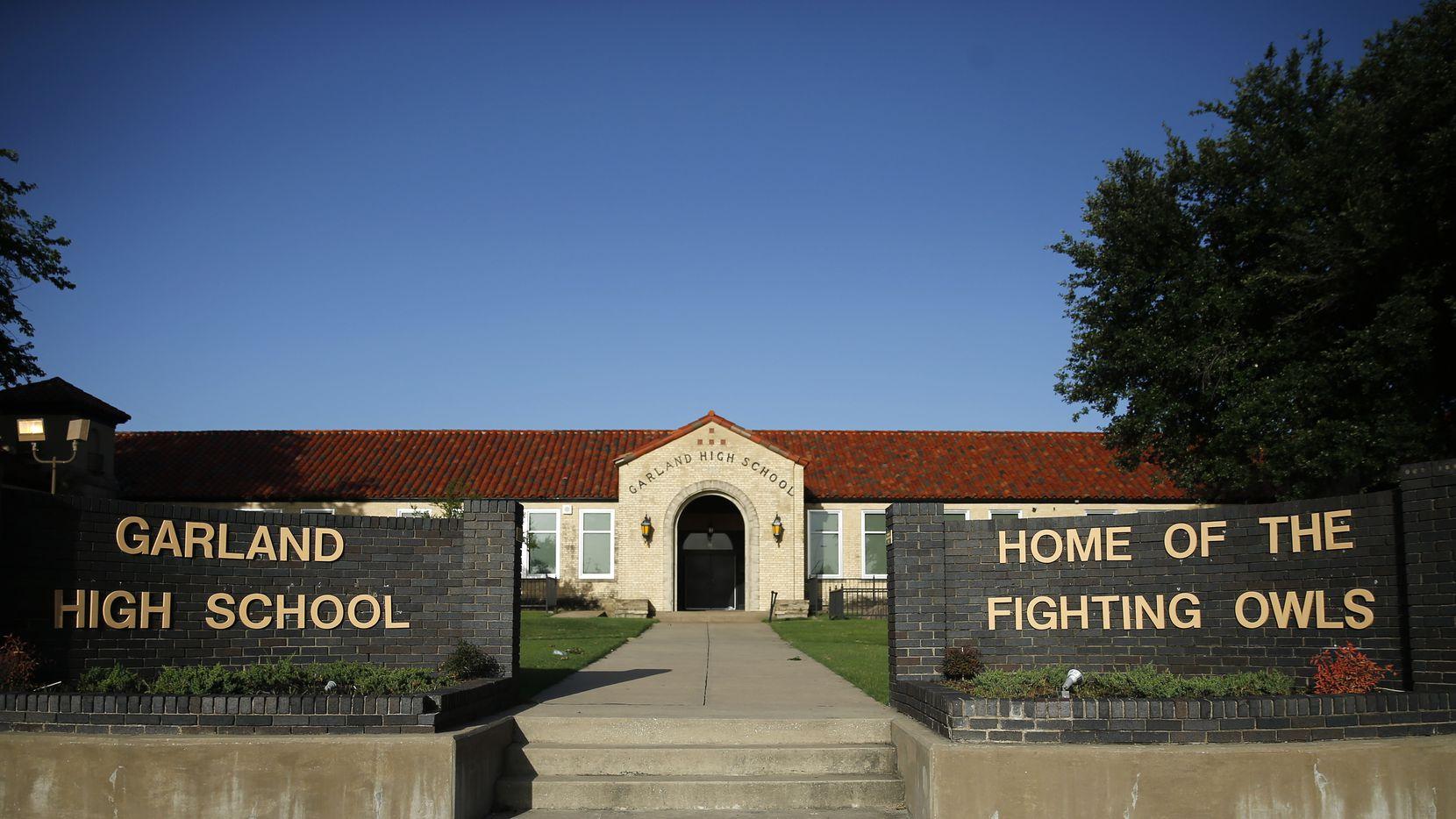 An exterior view of Garland High School in Garland, Texas, Friday, June 26, 2020.