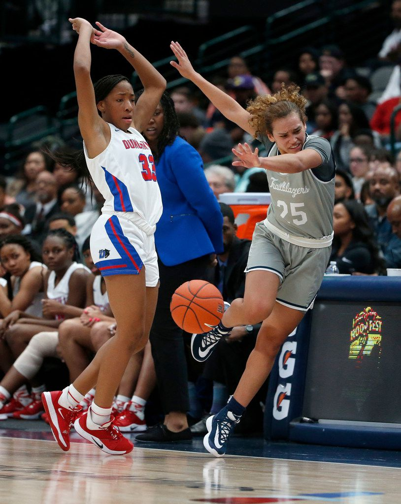 Duncanville's Nyah Wilson (33) fouls Sierra Canyon's Ashley Chevalier (25) during their high school girls basketball game during their Thanksgiving Hoopfest in Dallas, Tx, Saturday, Nov. 30, 2019. (Michael Ainsworth)