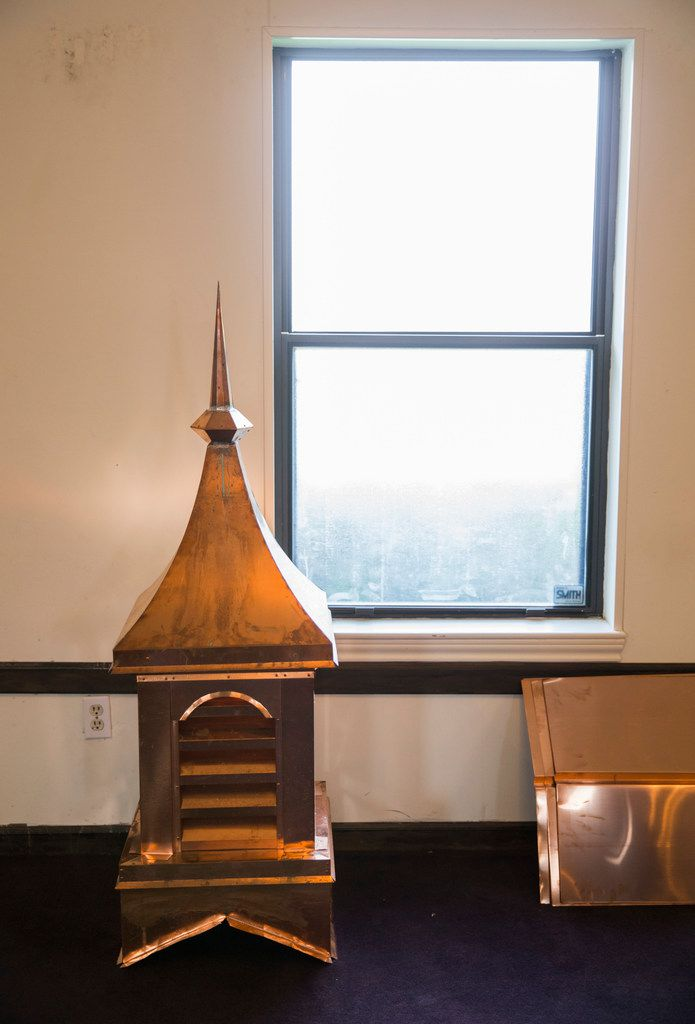 A custom-made copper cupola will be reinstalled at the church before the end of July.