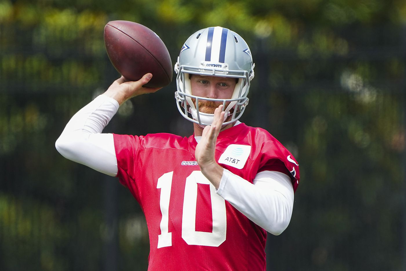 Dallas Cowboys quarterback Cooper Rush throws a pass during a minicamp practice at The Star on Tuesday, June 8, 2021, in Frisco. (Smiley N. Pool/The Dallas Morning News)